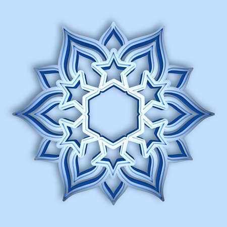 Blue shining volumetric snowflake isolated on light blue background. 3d render on a Christmas theme Фото со стока