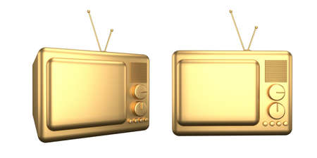 3d render of an old TV. Gold cartoon TV isolated on a white background. Minimalism luxury concept. Фото со стока
