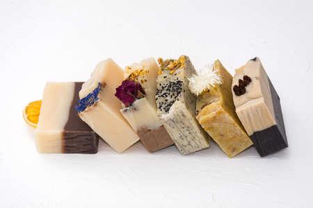 Bars of beautiful natural handmade soap. Фото со стока