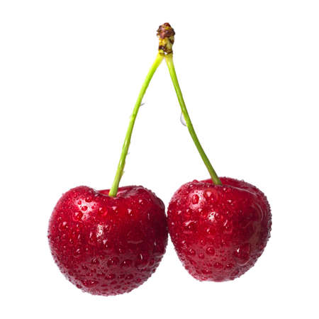 Ripe fresh cherry with drops of water isolated on white background