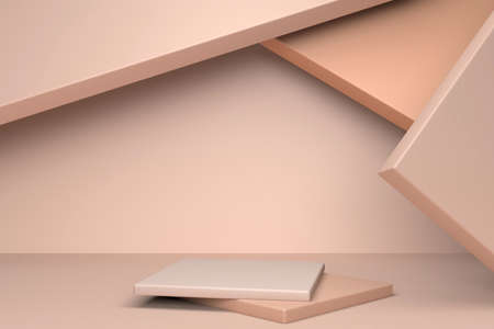Beige abstract minimal scene with podium. 3d rendering geometric shape. Background for cosmetic product Фото со стока