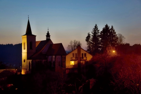 night church Letovice Stock Photo