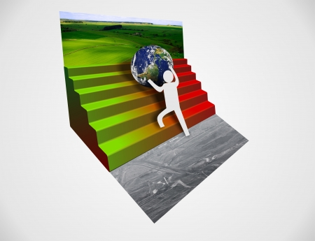 man protecting earth from destruction