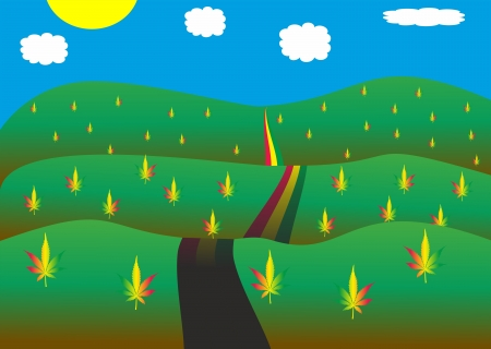 Road in cannabis landscape Illustration