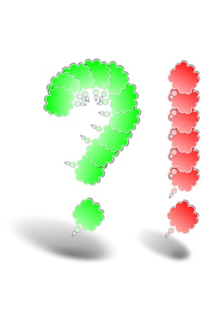 Question mark and exlamation mark made by bubbles Stock Vector - 19825592