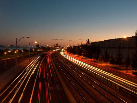 Lisbons India and Brasilia avenue at dusk. Stock Photo