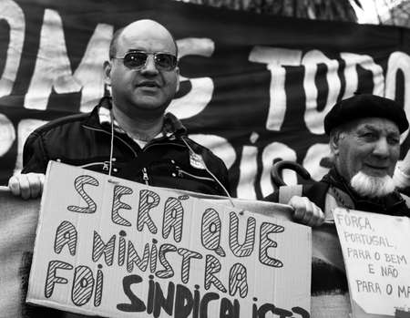 LISBON, PORTUGAL - MARCH 12, 2011: 200,000 protesters march against unemployment and precarious working conditions for young people in Lisbon, March 12, 2011. Stock Photo - 9020992