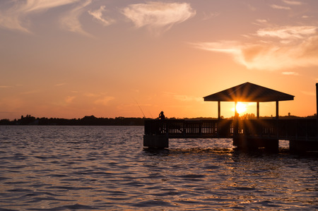 fort: Sunset North Fort Myers Florida Stock Photo
