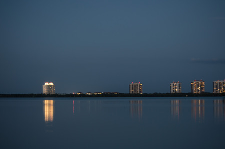 myers: Buidlings along Estero Blvd Fort Myers Beach Florida Stock Photo