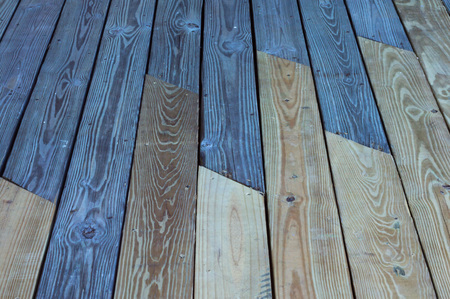 two tone: Two tone wood planks on a deck