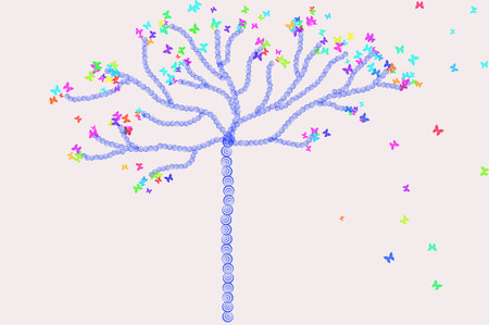 Exemplar: Tree with multicolor butterflies flying around it.