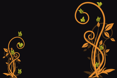 neon green: Neon green butterflies on orange vines with a black background Stock Photo