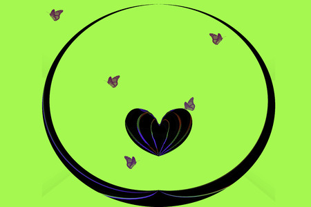 fascinated: Heart floating in a circle with butterflies on a neon green background.
