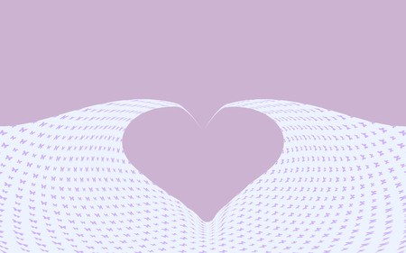 Lavender color heart shape with butterfly background.