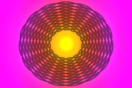 Colorful design with bright yellow center.  Pink orange and yellow