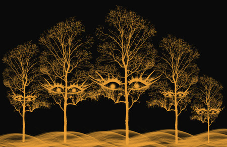 Spooky trees with eyes.  Orange on a black background.