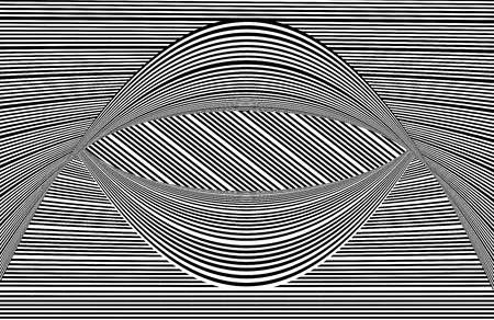 Op Art black and white lines curved Stock Photo