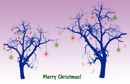 royal blue: Royal blue tree silhouettes with green and red Christmas decorations against a soft purple background