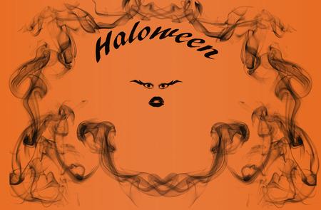 black smoke: Halloween face with surrounding black smoke
