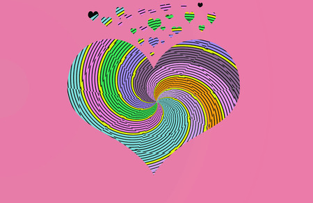 Hearts filled with lines and psychedelic colors