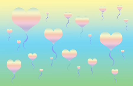 Blue and yellow background with color heart balloons