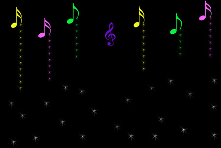 Musical notes with sparkles