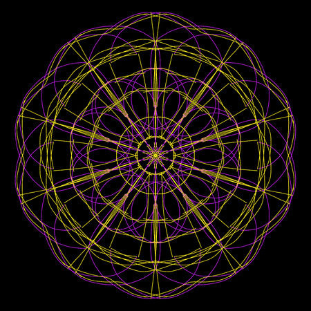 Purple and yellow spirograph design on a black background Фото со стока