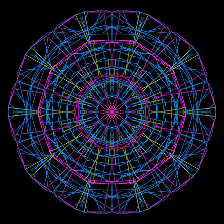 Blue yellow and purple spirograph design on a black background