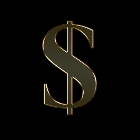 Gold money sign on a black background