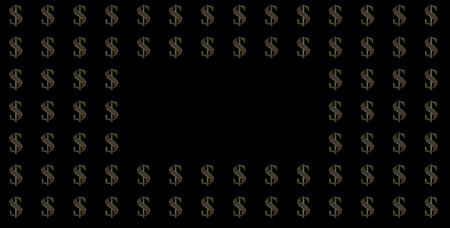 Gold money signs on a black background