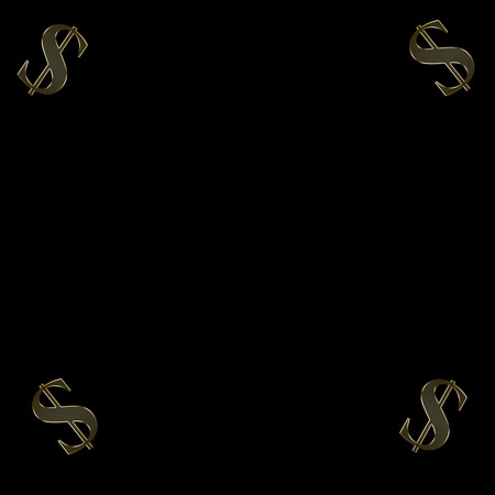 Gold money symbols on a black background