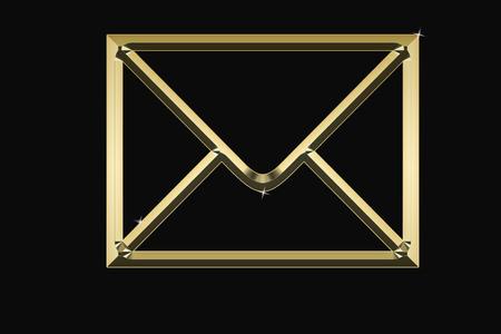 Golden envelope on a black background with sparkles