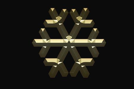 Gold snowflake on a black backgroun