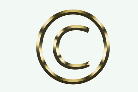 Gold copyright symbol on a white background