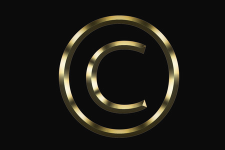 Gold copyright symbol on a black background