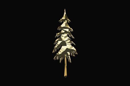 Gold tree on a black background 写真素材