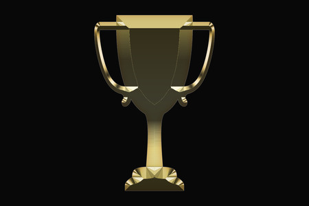Gold trophy on a black background
