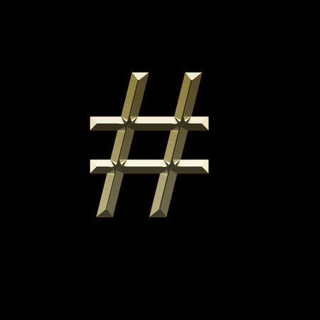 Gold hashtag number sign on a black backgroun Stock Photo