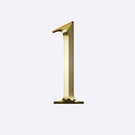 Number 1 in gold on a white background