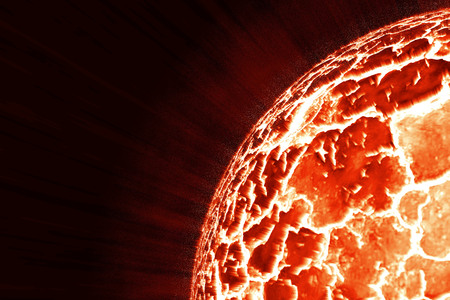 Exploding planet in space on fire