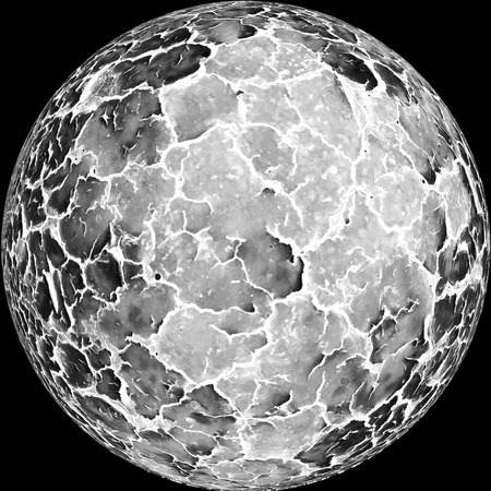 Crackled black and white planet