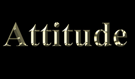 Gold word attitude on a black background