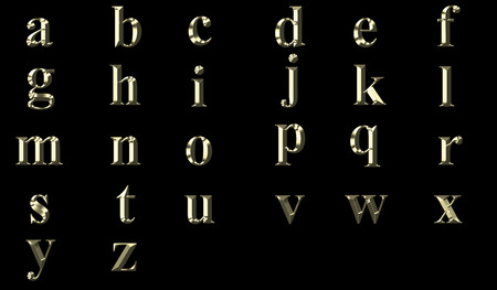 Gold alphabet in lower case letters