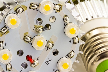 e27: detail of LED light bulbs E27 with 1 Watts SMD chips without cover glass Stock Photo