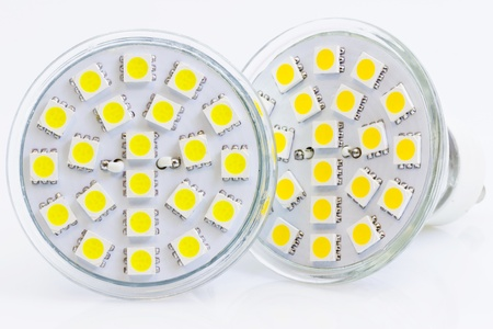 two LED bulbs with warm and cold light with 3-chip SMD LEDs photo