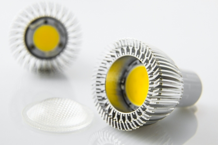 e27: led bulbs GU10 with big chip and aluminum cooling but without optical slides Stock Photo