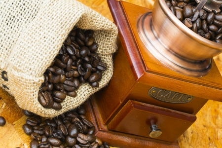 scrotum: fresh roasted coffee beans in a small scrotum and old wooden manual coffee grinder