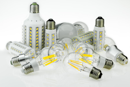 e27: quantity E27 LED bulbs with different sizes and type of chips, also various cooling Stock Photo