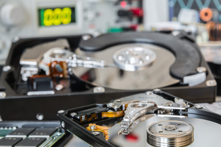 data recovery: HDDs in a test laboratory ready for data recovery or repair