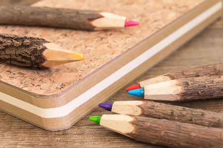 workbook: natural wooden pencils and cork workbook from recycled paper